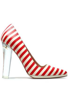 RED(V) Striped leather pumps