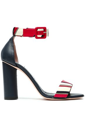 RED(V) Embellished striped leather sandals