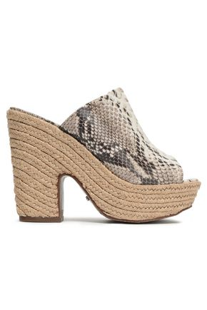 SCHUTZ Eviana snake-effect leather platform sandals