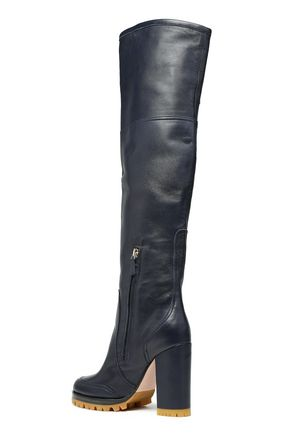 RED(V) Buckled leather over-the-knee boots