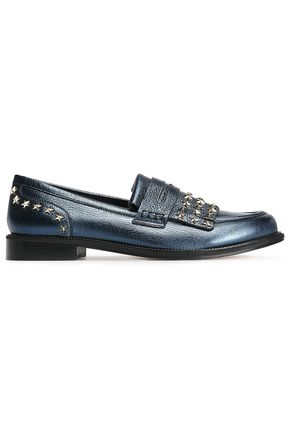 RED(V) Studded textured-leather loafers