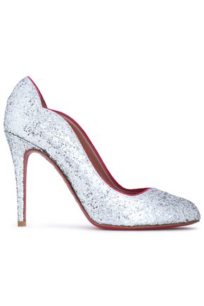 RED(V) Glittered leather pumps