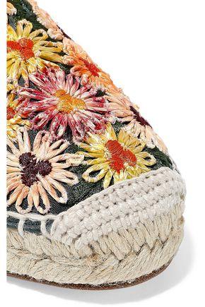 CASTAÑER Kenda suede and embroidered canvas espadrilles