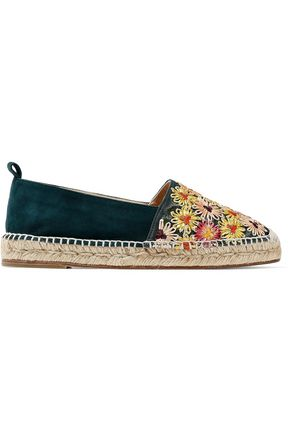 CASTAÑER Kenda suede and embroidered canvas espadrilles