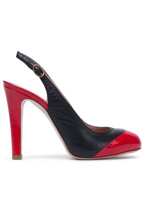 RED(V) Two-tone leather slingback pumps