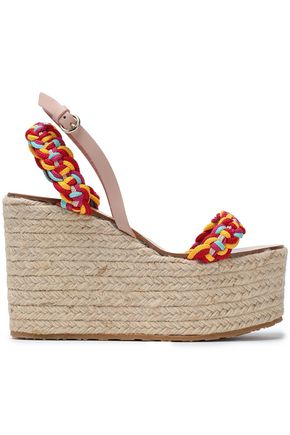 RED(V) Leather-trimmed woven wedge espadrille sandals