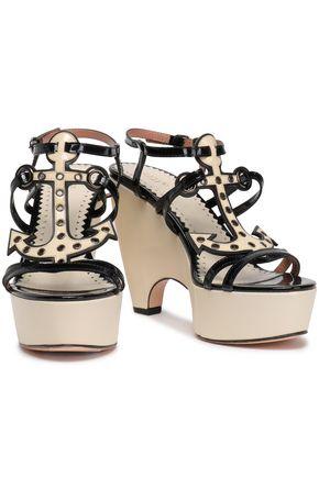RED(V) Eyelet-embellished patent-leather platform sandals