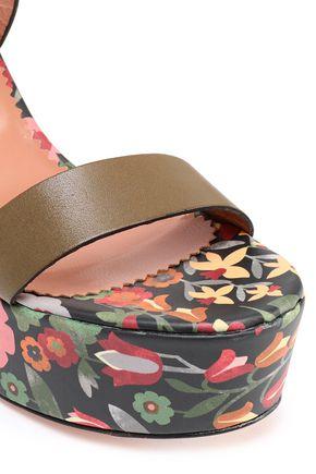 RED(V) Leather platform sandals