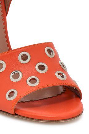 RED(V) Eyelet-embellished leather sandals