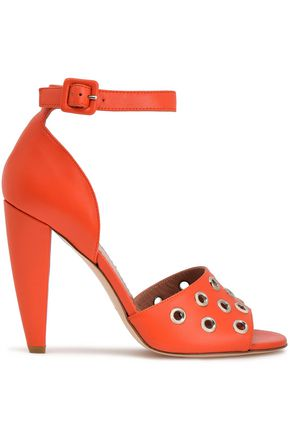 RED(V) Eyelet-embellished leather sandals