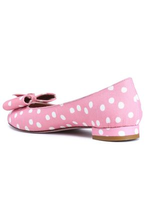 RED(V) Bow-embellished polka-dot canvas ballet flats