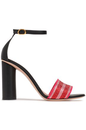 RED(V) Metallic striped woven and leather sandals