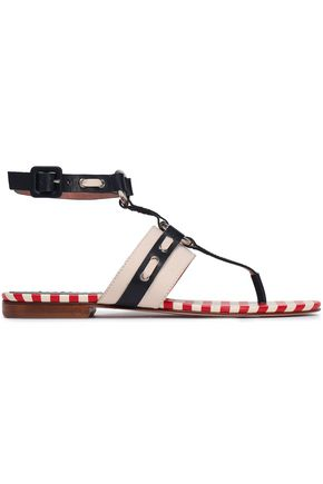 RED(V) Bow-embellished two-tone leather sandals