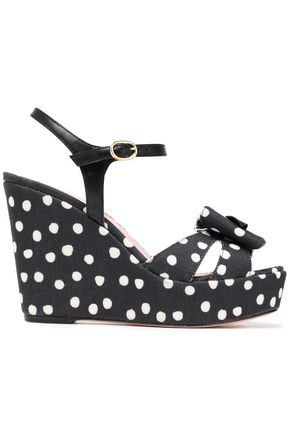 RED(V) Bow-embellished leather and polka-dot canvas wedge sandals