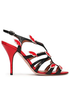RED(V) Appliquéd patent-trimmed leather pumps