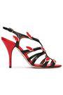 RED(V) Appliquéd patent-trimmed leather pumps