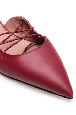 RED(V) Leather point-toe flats