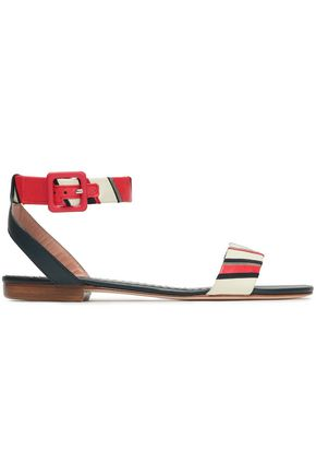 RED(V) Chain-embellished striped leather sandals
