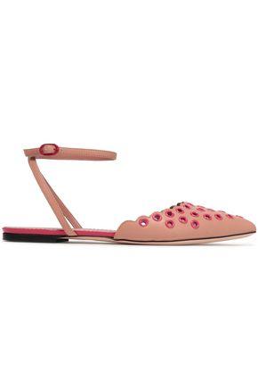 RED(V) Scalloped eyelet-embellished leather point-toe flats
