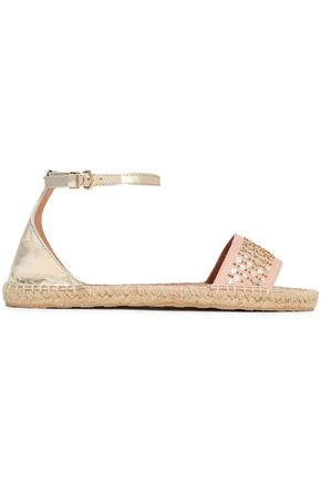RED(V) Embellished smooth and metallic leather espadrille sandals