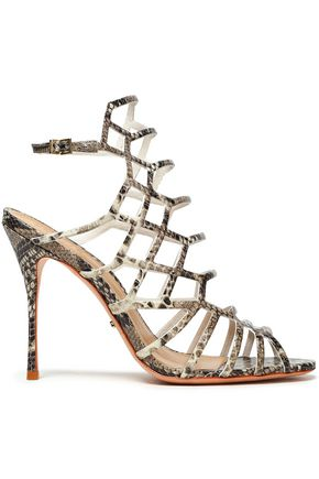 SCHUTZ Snake-effect leather sandals