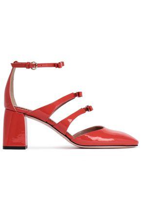 RED(V) Bow-embellished color-block patent-leather pumps