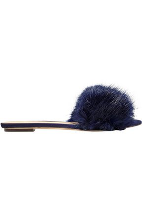 J.CREW Faux fur slides