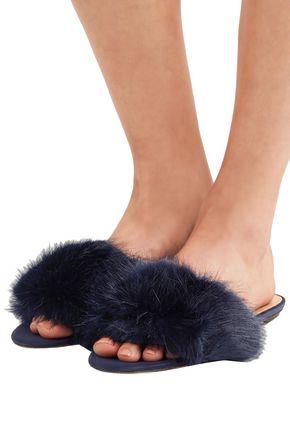 J.CREW Faux fur slides
