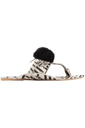 FIGUE Leo pompom-embellished printed calf hair sandals