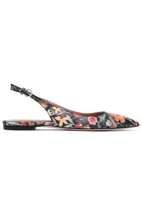 RED(V) Floral-print leather slingback point-toe flats