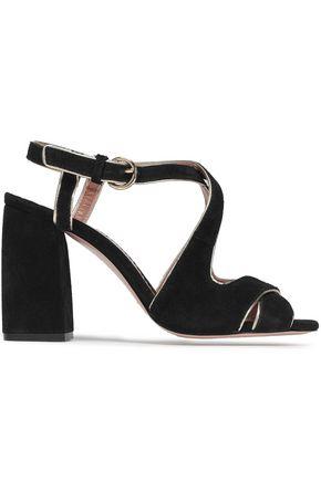 RED(V) Metallic-trimmed suede sandals