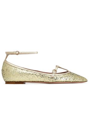 RED(V) Glittered leather point-toe flats