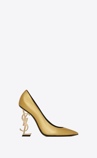 OPYUM Pumps with gold-toned heel in smooth leather
