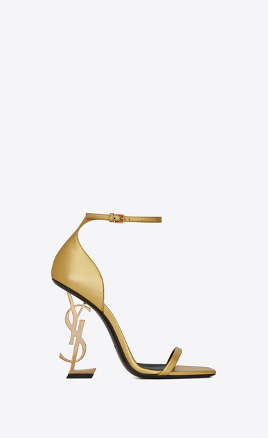 OPYUM sandals with gold-toned heel in smooth leather