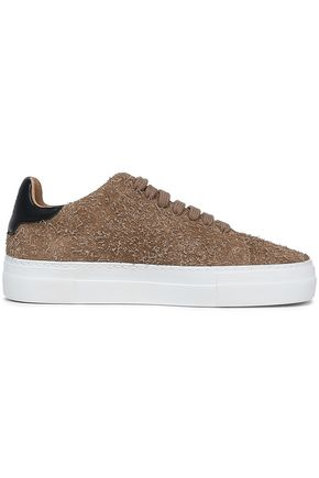 AXEL ARIGATO Leather-paneled distressed suede sneakers