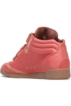 JÉRÔME DREYFUSS Suede-trimmed leather high-top sneakers