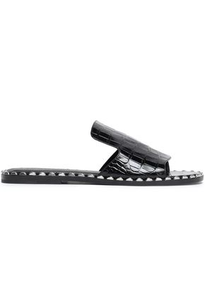SIGERSON MORRISON Studded croc-effect leather slides