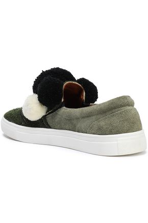 FIGUE Karita embellished suede and crochet-knit slip-on sneakers