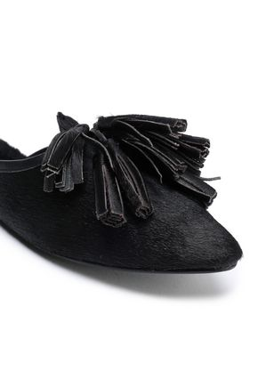 FIGUE Tasseled shearling-lined suede slippers