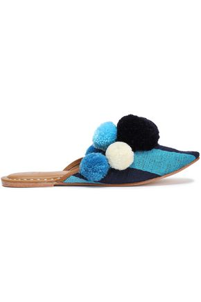 FIGUE Iris pompom-embellished embroidered cotton slippers