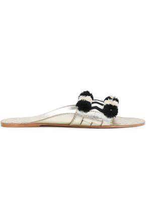 FIGUE Noona embellished metallic leather slides