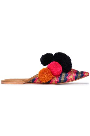 FIGUE Pompom-embellished embroidered leather slippers