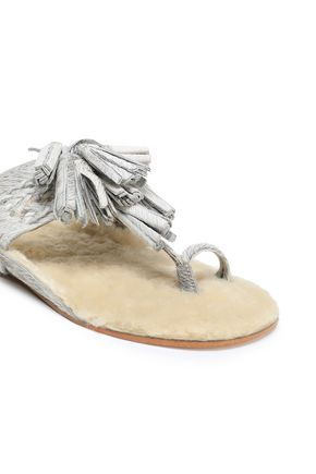 FIGUE Tasseled shearling-lined metallic calf hair sandals