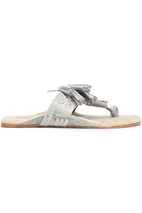 FIGUE Tasseled shearling-lined metallic calf hair sandals