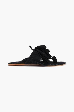 FIGUE Tasseled braided suede sandals
