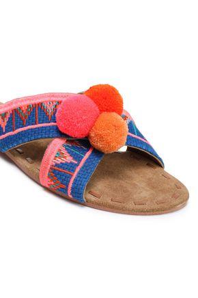 FIGUE Pompom-embellished embroidered canvas sandals