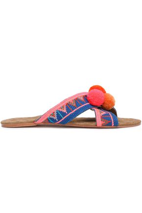 FIGUE Pompom-embellished embroidered canvas sandals