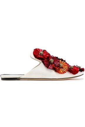 SANAYI 313 Raffia-embellished cotton and linen-blend slippers