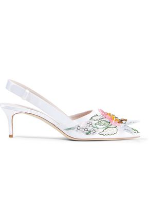 CHRISTOPHER KANE Embellished satin slingback pumps