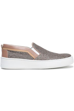 SERGIO ROSSI Glittered leather slip-on sneakers
